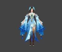 蓝衣少女 3d模型